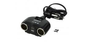 Adaptor splitter priza bricheta auto 12V  2x USB  1 1+1A  Roxa